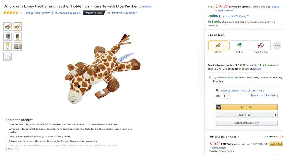 Nearly 600,000 of Dr. Brown's Lovey Pacifier and Teether holders were recalled due to a potential choking hazard.>> See other recalls that have happened in the last year. Photo: Amazon.com Screen Shot