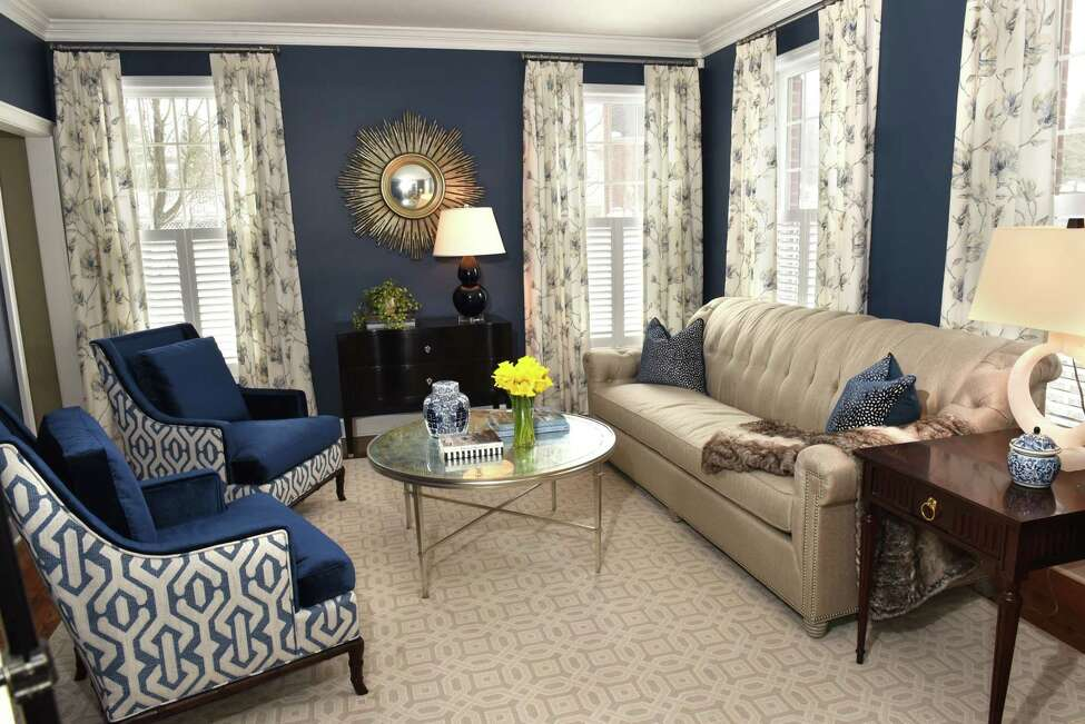 The living room in Traci and Joseph Roberto's home on Monday, March 12, 2018 in Loudonville, N.Y. Meghan Baltich was the grand prize winner in a home design contest and this living room was the winning room. (Lori Van Buren/Times Union)