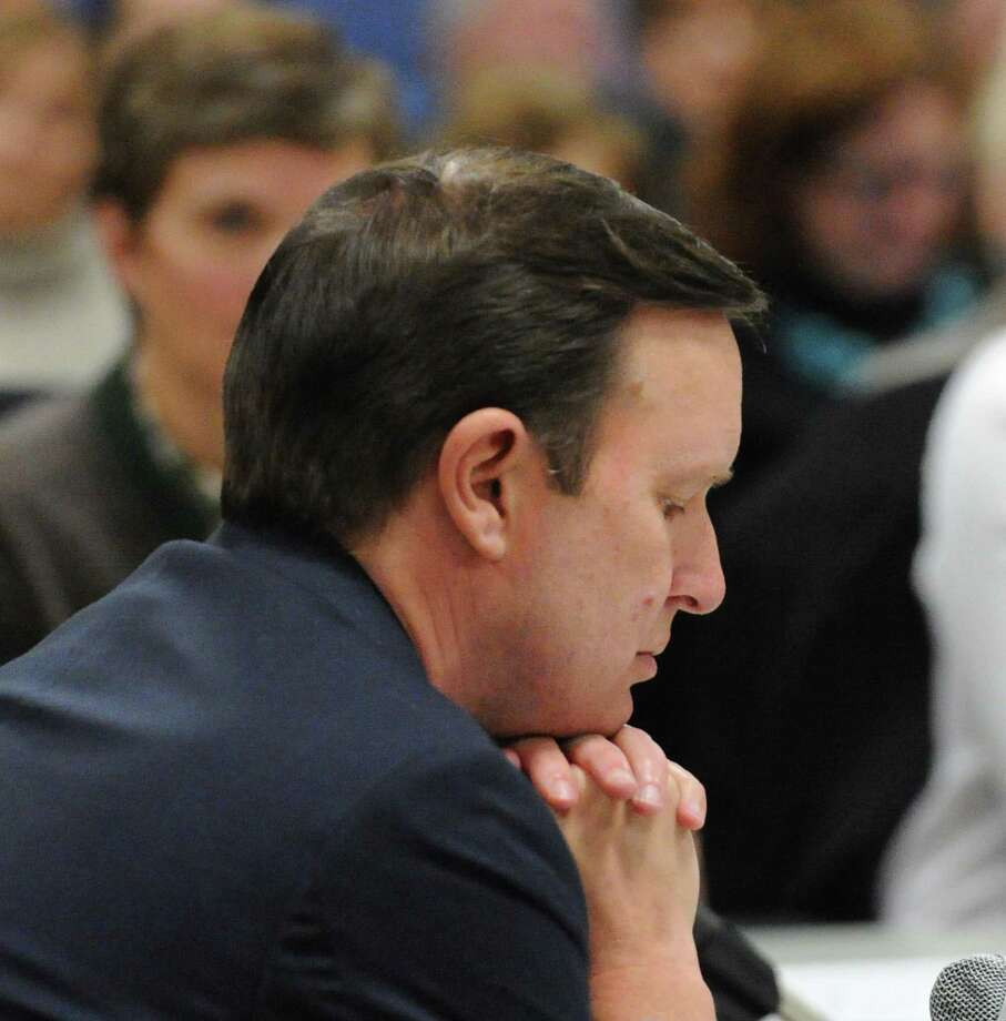 U.S. Sen. Chris Murphy (D-Conn.) reflects on March 2, 2018, during a roundtable discussion on gun violence at Greenwich Town Hall in Greenwich, Conn. Photo: Bob Luckey Jr. / Hearst Connecticut Media / Greenwich Time
