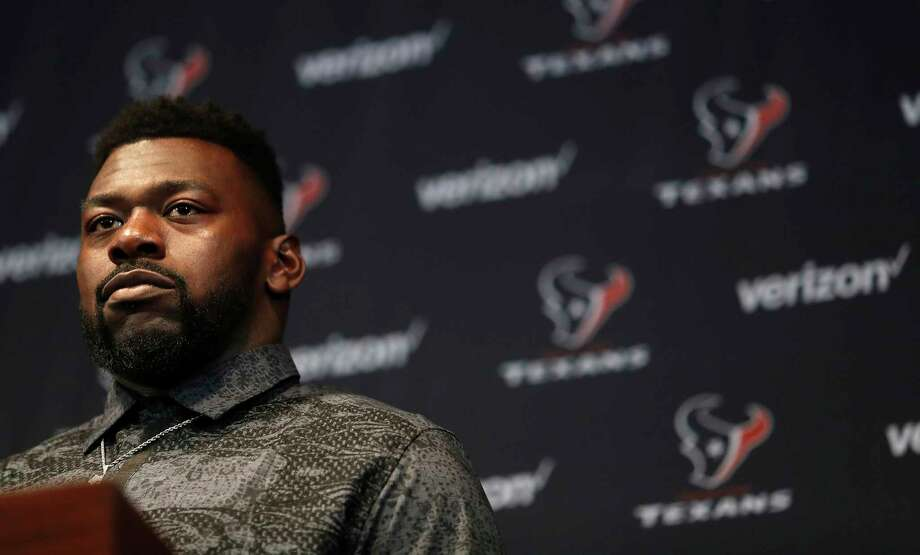 Zach Fulton speaks to the media as the Texans held a press conference to introduce their new free-agent signees at NRG Stadium, Thursday, March 15, 2018, in Houston. Photo: Karen Warren, Houston Chronicle / © 2018 Houston Chronicle