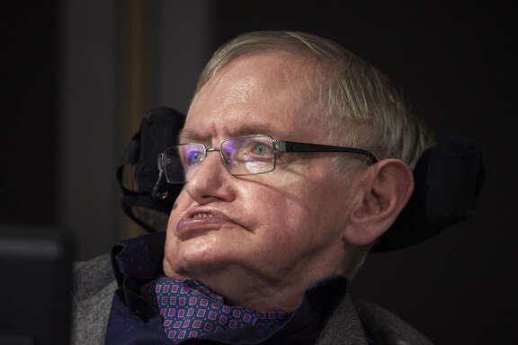 British scientist Stephen Hawking attends the launch of The Leverhulme Centre for the Future of Intelligence (CFI) at the University of Cambridge, in Cambridge, eastern England, on October 19, 2016. The Leverhulme Centre for the Future of Intelligence (CFI), which launched today, is a collaboration between the University of Cambridge, the University of Oxford, Imperial College London, and the University of California, Berkeley. The centre will explore the implications of the rapid development of artificial intelligence (AI). / AFP PHOTO / NIKLAS HALLE'N (Photo credit should read NIKLAS HALLE'N/AFP/Getty Images)