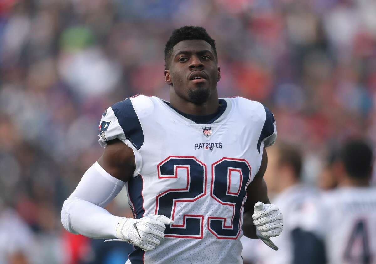 BUFFALO, NY - DECEMBER 3: Johnson Bademosi #29 of the New England Patriots during NFL game action against the Buffalo Bills at New Era Field on December 3, 2017 in Buffalo, New York. (Photo by Tom Szczerbowski/Getty Images)