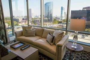 Guest room with a view of Houston at The Post Oak Hotel. Wednesday, March 14, 2018, in Houston. ( Marie D. De Jesus / Houston Chronicle )