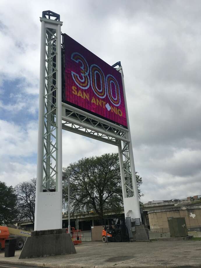 The Alamodome on Friday revealed a $546,000 marquee, which can be seen from Interstate 37 and will surely get some camera time on national broadcasts. Photo: Madalyn Mendoza