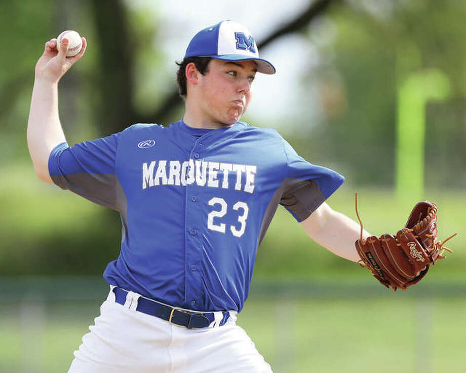 Marquette Catholic senior Luke Simmons, shown during action last season, struck out nine in a complete-game win over Granite City on Thursday at Hopkins Field in Alton. Photo: Billy Hurst / For The Telegraph