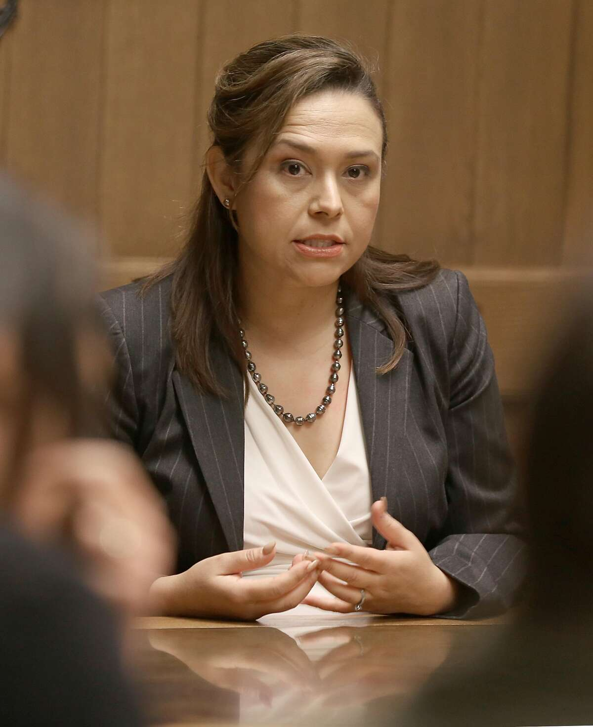 Maria Elena Evangelista, candidate running for superior court judge speaks in the board room of the Chronicle on Friday, March 9, 2018, in San Francisco, Calif.