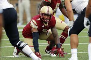 CHESTNUT HILL, MA - SEPTEMBER 09: Boston College defensive lineman Harold Landry (7) gets ready for a play during an ACC match-up between the Boston College Eagles and the Wake Forest Demon Deacons on September 9, 2017, at Alumni Stadium in Chestnut Hill, Massachusetts. The Demon Deacons beat the Eagles 34-10. (Photo by Fred Kfoury III/Icon Sportswire via Getty Images)