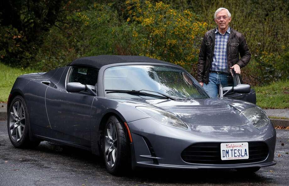 "Dale Miller of San Rafael still drives his Tesla Roadster a considers it a ""fantastic"" car. Production of the Roadster, Tesla's first car model, began 10 years ago, on March 17, 2008. Photo: Paul Chinn, The Chronicle"