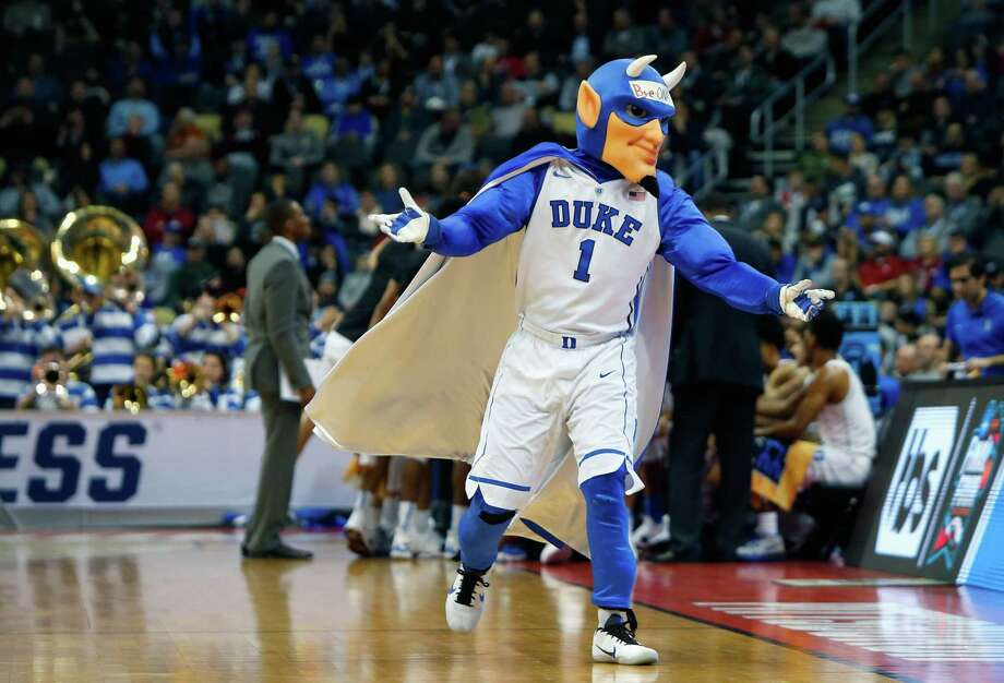 The Duke Blue Devils mascot, Blue Devil attends the game against the Iona Gaels during the first round of the 2018 NCAA Men's Basketball Tournament. Photo: Justin K. Aller / Getty Images / 2018 Getty Images