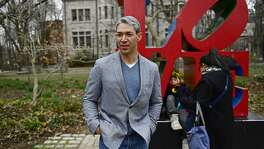 Ron Nirenberg, from left, looks onto campus with his family Jonah Nirenberg, 9, and Erika Prosper Monday, March 12, 2018 in Philadelphia, Pa. The San Antonio Mayor presented the 2018 George Gerbner Lecture in Communication ÒBe a Better Neighbor: The Education of a Mayor,Ó at the Annenberg School for Communication at the University of Pennsylvania as well as coming to visit his old collegiate stomping grounds with his family. Meeting his wife there, and his first time back with his son, Ron attributes his experience at Penn as part of shaping the person and political leader he has become. (Corey Perrine/For the San Antonio Express-News)