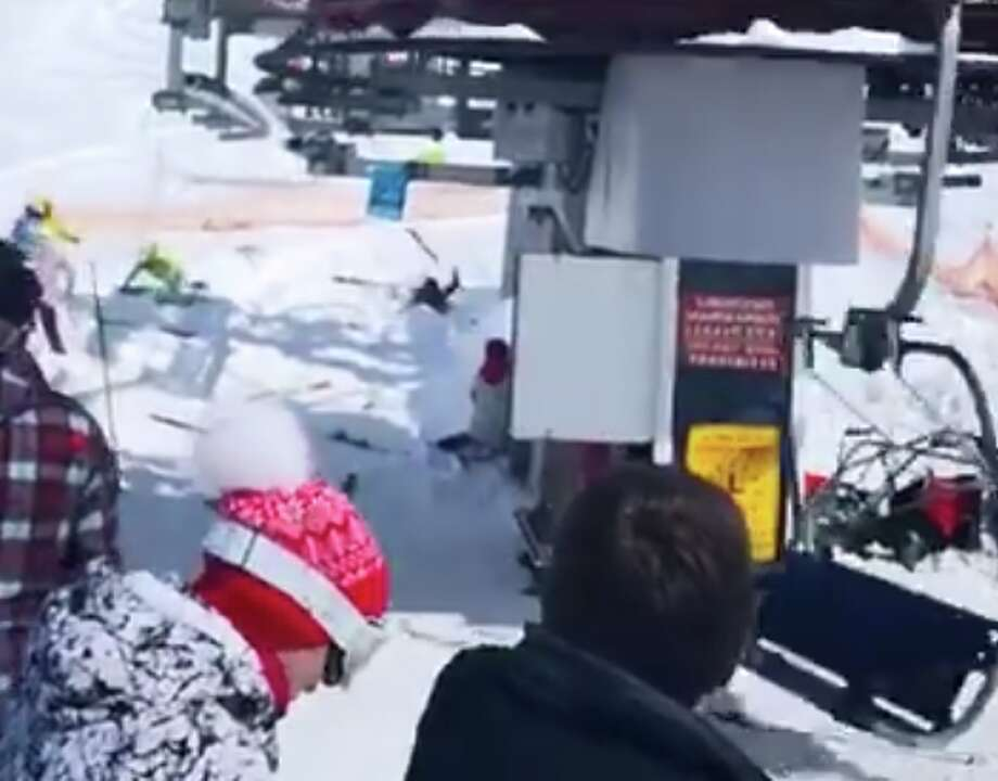 A screenshot taken from a video showing a chairlift at a Georgian ski resort suddenly rolling backwards at twice the normal speed. Photo: YouTube