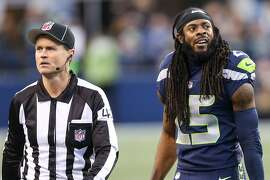 Seahawks corner back Richard Sherman reacts as the referees call for a Colts first down during the first half at CenturyLink Field on Saturday, Oct. 1, 2017. (GRANT HINDSLEY, seattlepi.com)