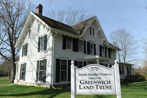 The renovated Greenwich Land Trust Mueller Preserve building in Greenwich, Conn. Tuesday, April 11, 2017. The Land Trust is being given a Merit Award from the Connecticut Preservation Trust for the preservation of its Mueller Preserve headquarters on Round Hill Road. The four-acre property was gifted to the Land Trust in 2012 and after raising more than $1,500,000 for restoration the renovations were completed in 2015.
