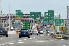 Traffic towards the Pearl Harbor Memorial Bridge in New Haven.