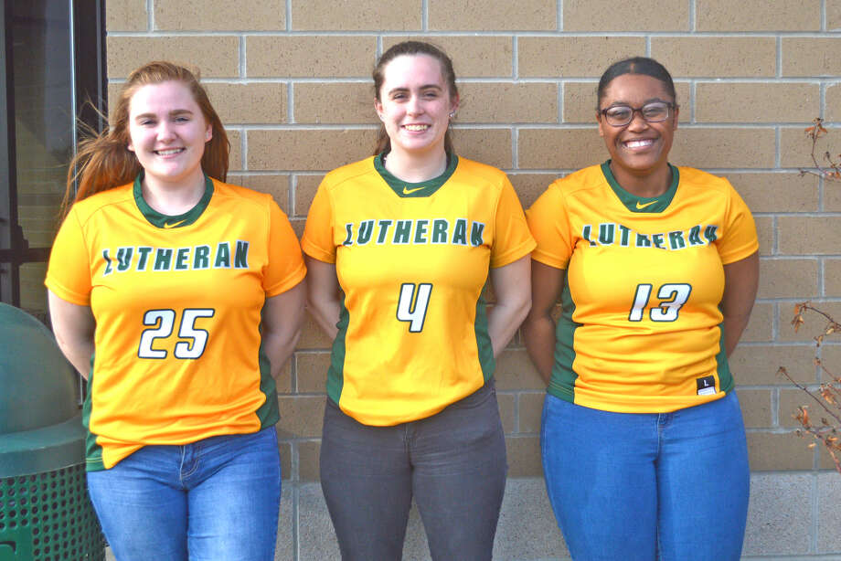 Seniors on the Metro-East Lutheran softball team are, left to right, Mary Holton, Kastilla Maine and Cylee Coyne.