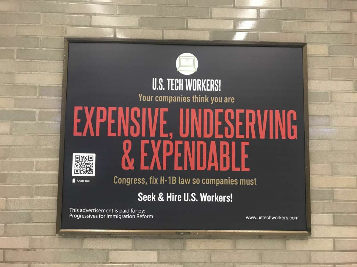 More than a dozen ads were placed inside the Civic Center BART station by Progressives for Immigration Reform. Pictured is a close-up of an ad.
