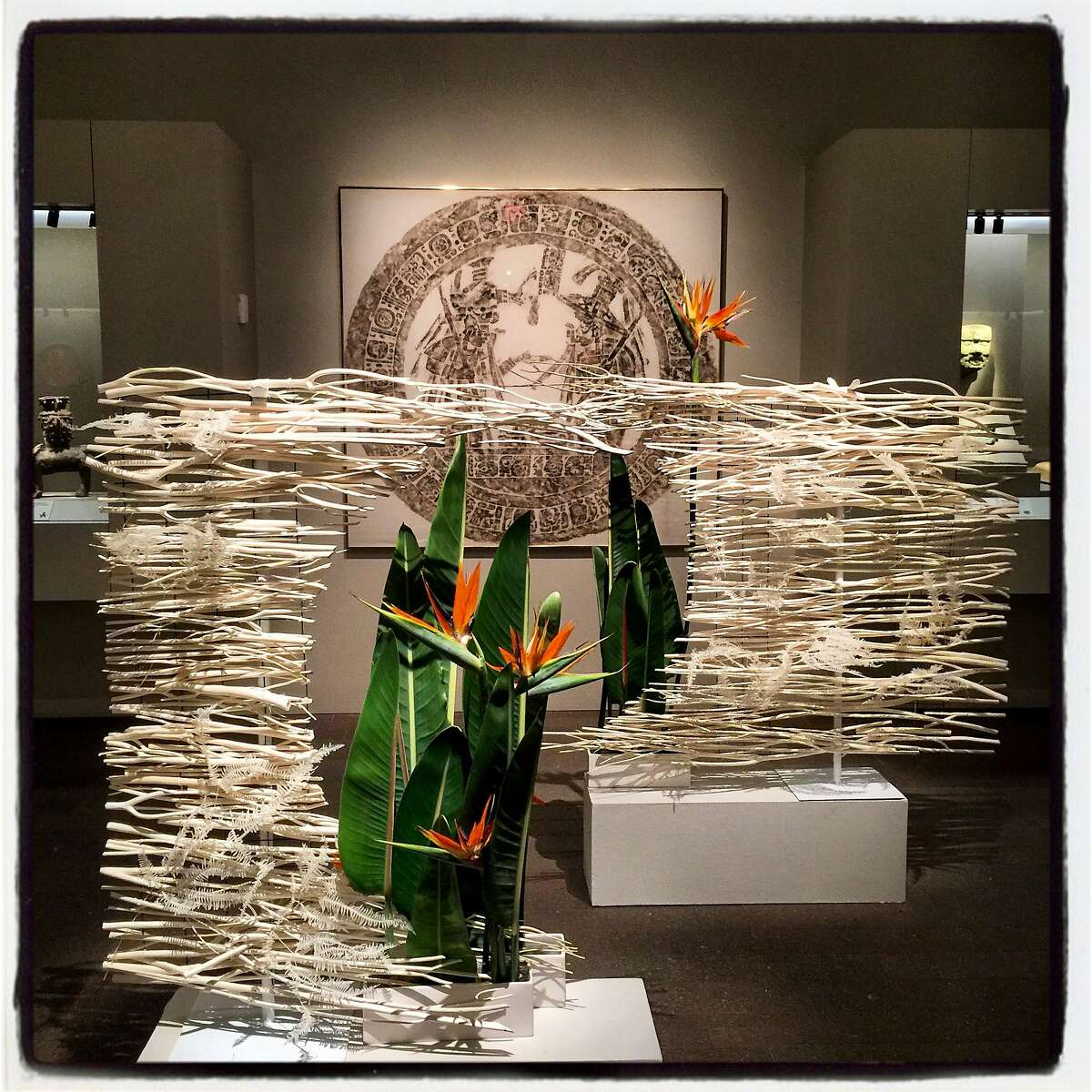 A Bouquets to Art floral tribute by Thanh Nguyen and Eclosion pays homage to a work by artist Merle Green Robertson at the de Young Museum on March 12, 2018.