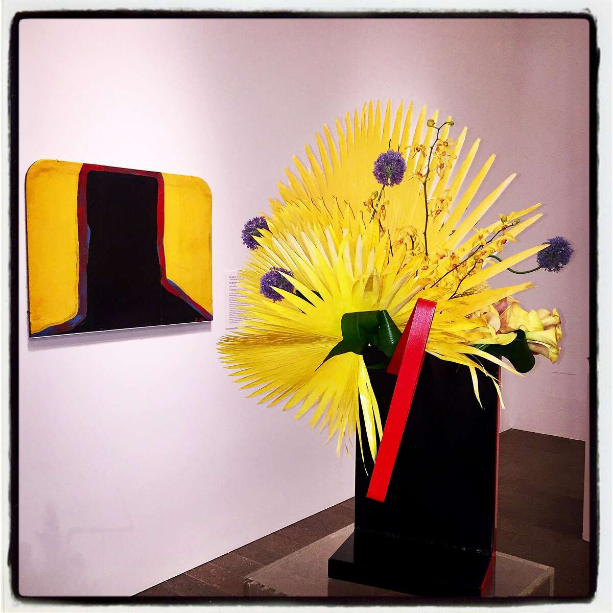 """A Bouquets to Art floral tribute by Heather Dunne and the Orinda Floral Club pays homage to """"Flat Mountain"""" by artist Joe Light at the de Young Museum on March 12, 2018."""