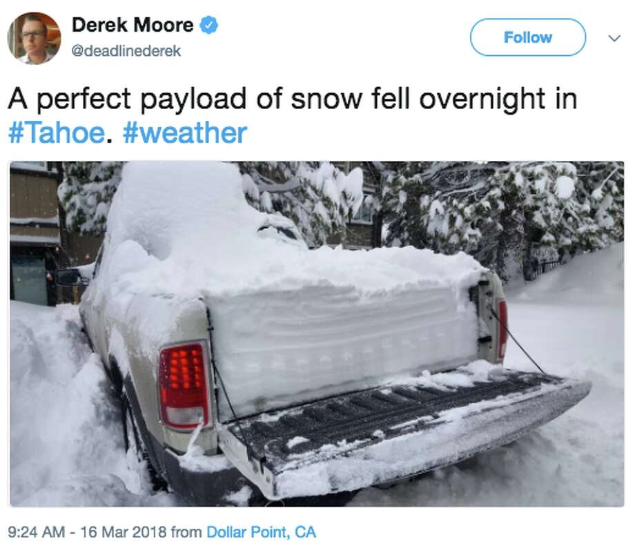A fierce storm pummeled the northern Sierra Friday, March 16, 2018, and snow piled up everything. Many in social media were quick to share images of the impressive snowfall. Photo: Twitter Screen Grab