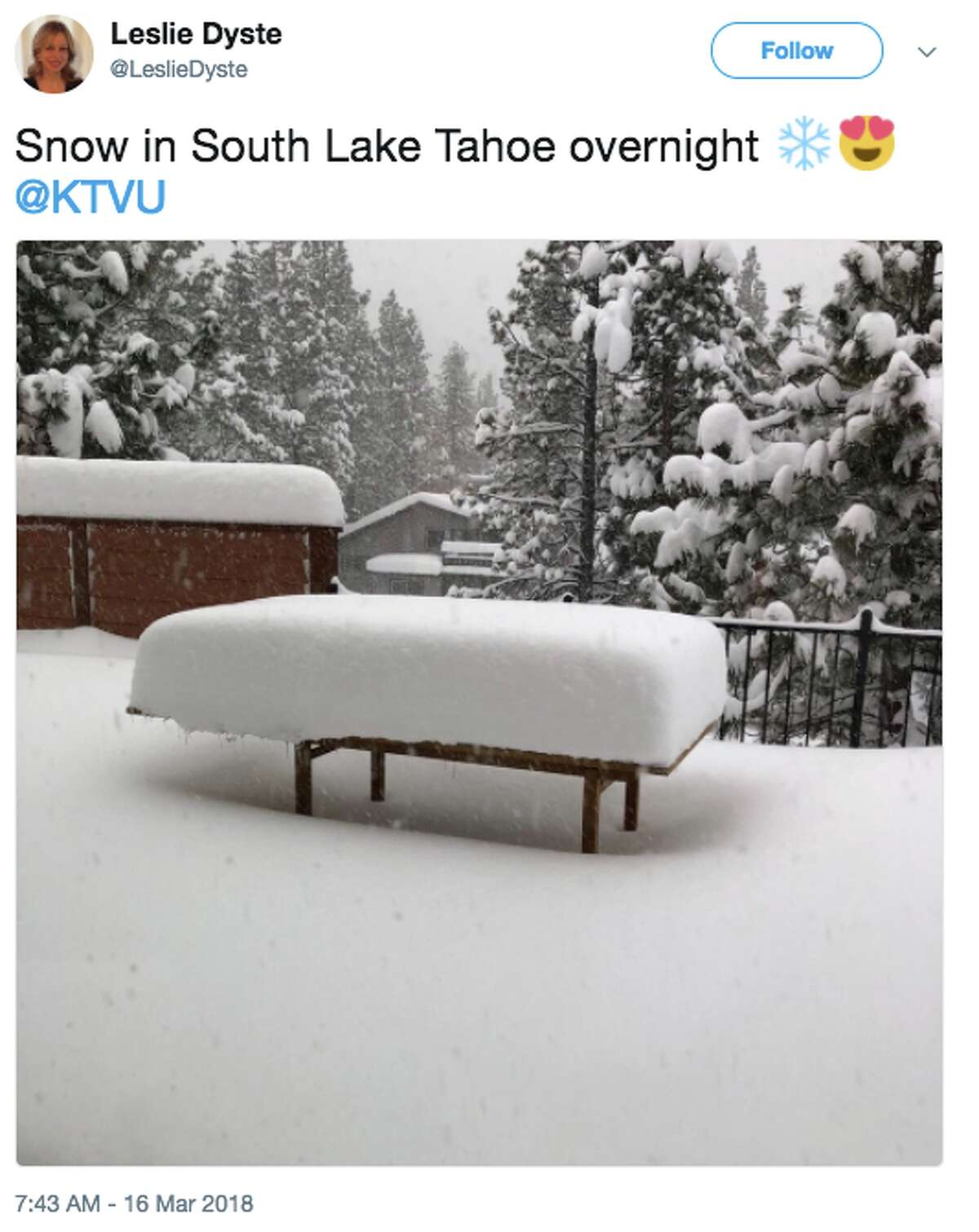 A fierce storm pummeled the northern Sierra Friday, March 16, 2018, and snow piled up everything. Many in social media were quick to share images of the impressive snowfall.