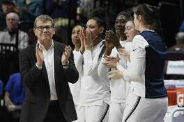 Coach Geno Auriemma and the UConn women's basketball team are seeking a first-round win in the NCAA tournament for a 25th straight season.