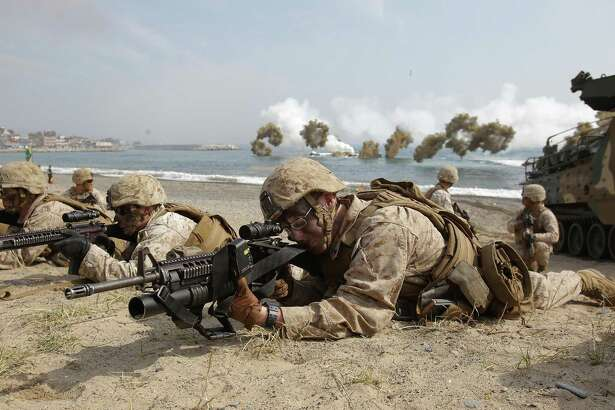 U.S. Marines from 3rd Marine Expeditionary Force, Battalion landing team deployed from Okinawa, Japan participate in the U.S. and South Korean Marines joint landing operation at Pohang seashore on March 31, 2014 in Pohang, South Korea. In total, we have a U.S. military presence in 80 percent of the world's 200 or so nations.