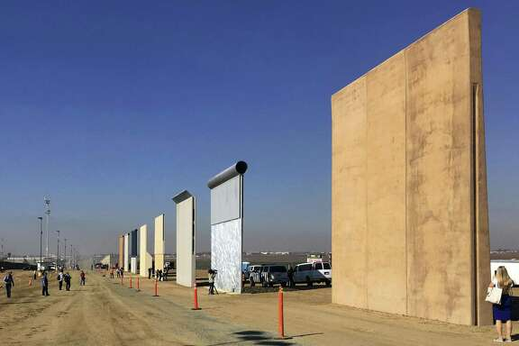 Prototypes of border walls in San Diego in 2017. President Donald Trump was scheduled to check out prototypes in California this week.