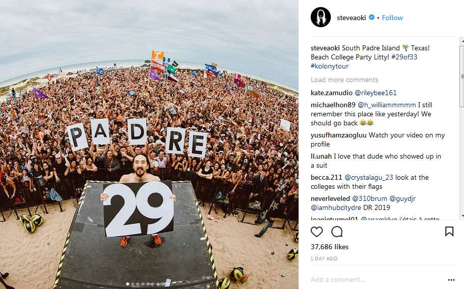 steveaoki: South Padre Island  Texas! Beach College Party Litty! #29of33 #kolonytour Photo: Instagram, Twitter