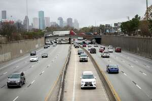 Traffic flows along Interstate 45 below Cottage Street in the area that the massive I-45 widening project would impact. City officials have said remaining in the existing footprint is preferred north of downtown.
