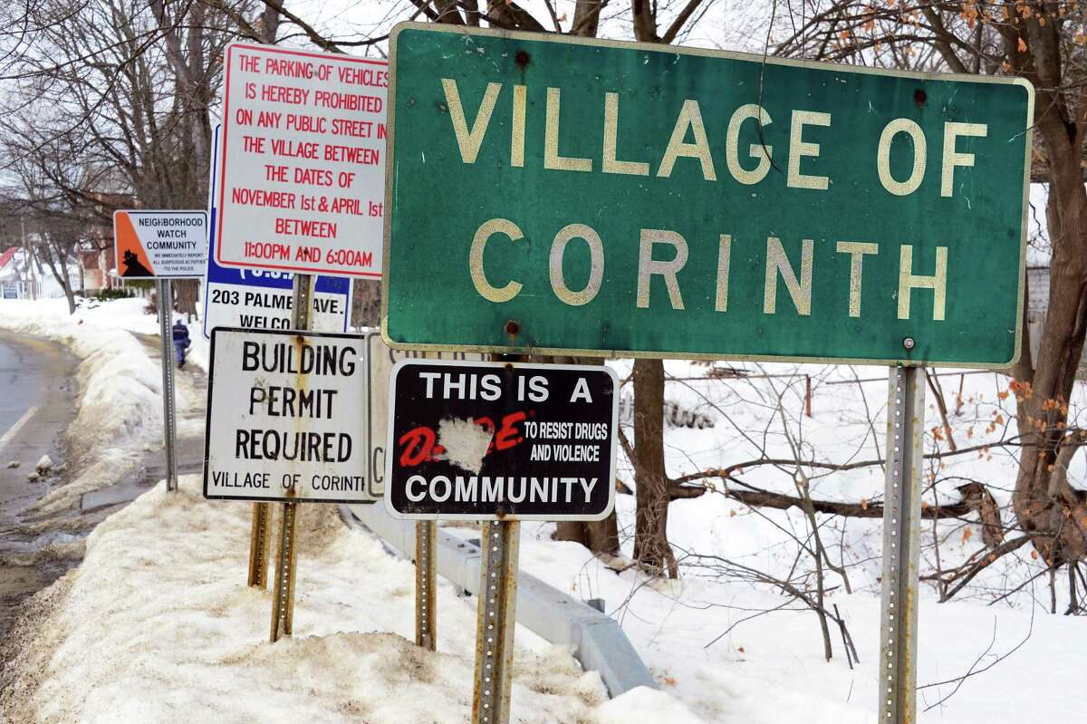 Road signs along Palmer Avenue entering town Thursday Feb. 15, 2018 in Corinth, NY. (John Carl D'Annibale/Times Union)