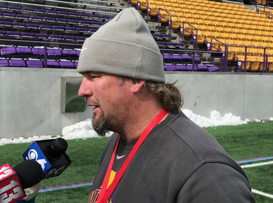 UAlbany men's lacrosse Scott Marr talks to the media about Saturday's match vs. Vermont. (Mark Singelais Times Union)