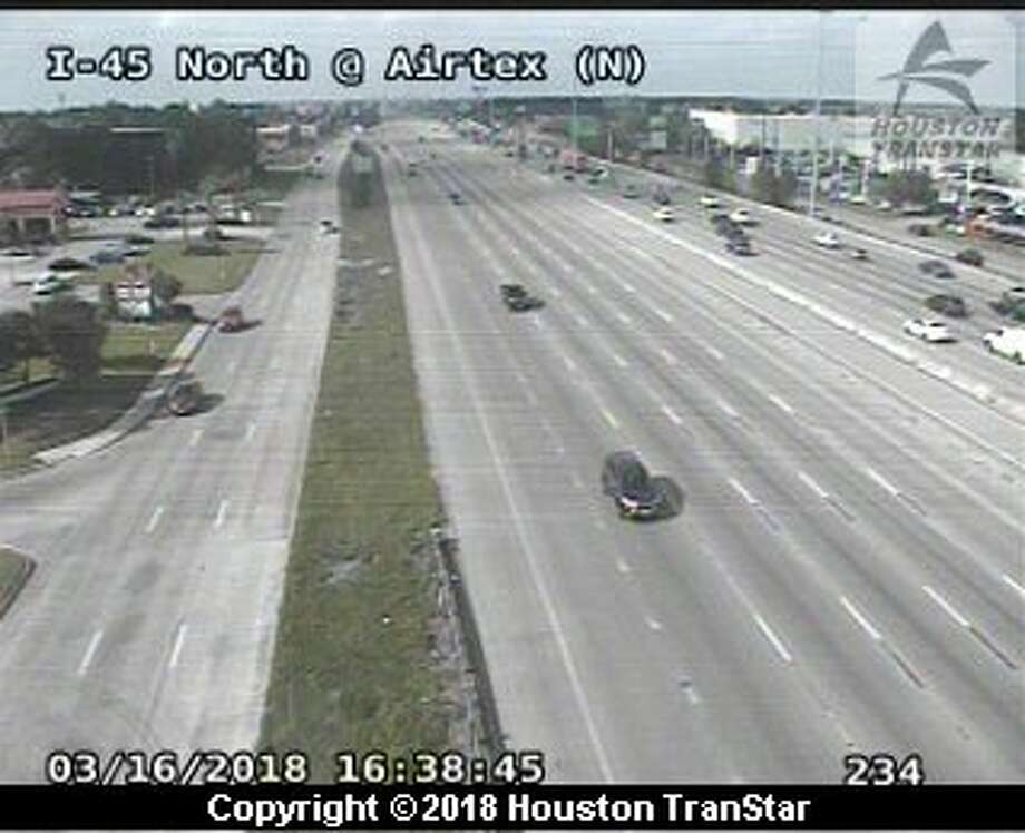 The southbound lanes on Interstate 45 North at Airtex are closed on March 16, 2018 due to road debris. Photo: Houston Transtar