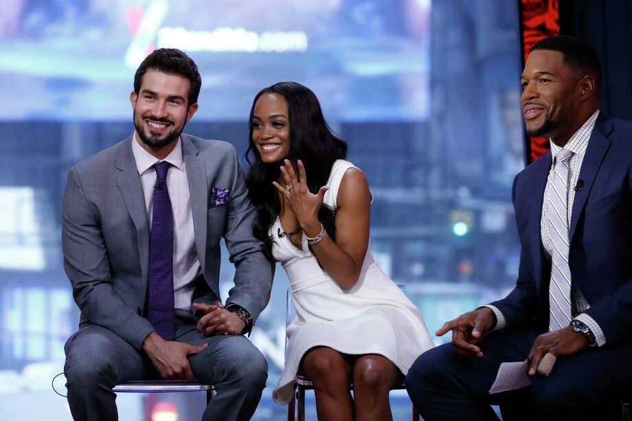 """Rachel Lindsay got engaged to Bryan Abasolo on the finale of """"The Bachelorette."""" The happy couple are guests on """"Good Morning America,"""" Tuesday, August 8, 2017 Photo: ABC/ Heidi Gutman / ©2017 American Broadcasting Companies, Inc.  All rights reserved."""