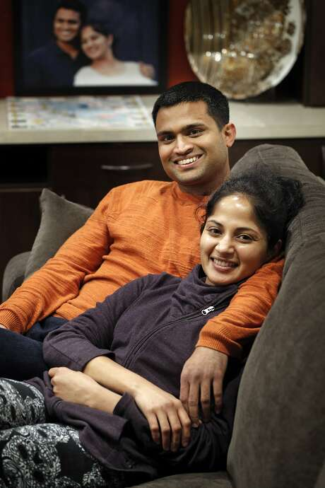 Sudarshan Bhat, left, and his wife Preethi Rao in San Jose. Bhat has been in the U.S. for about 11 years on an H-1B visa, and is in line for a green card, which makes Rao, who holds an H-4 spouse visa, eligible for a special work permit. Photo: Carlos Avila Gonzalez, The Chronicle