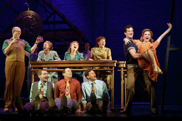 Jeff_Blumenkrantz, AJ Shively, Emily Padgett and the cast of BRIGHT STAR in the Original Broadway Company (photo_by_Joan_Marcus)