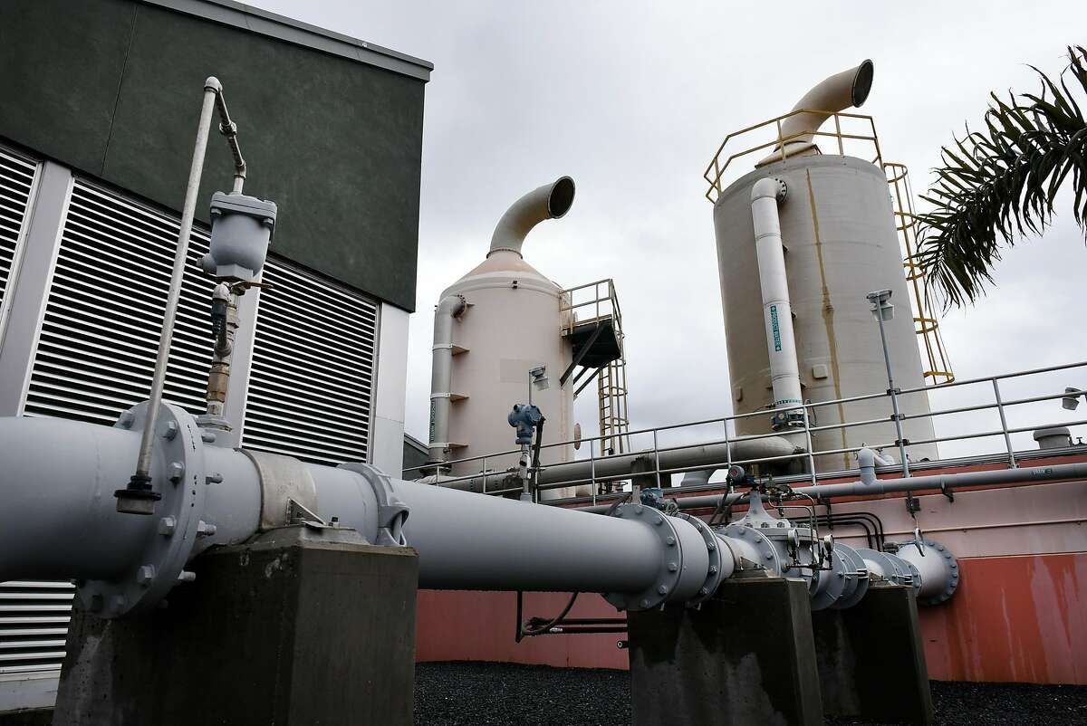 Two decarbonators, at right, remove excess carbon dioxide from processed water.