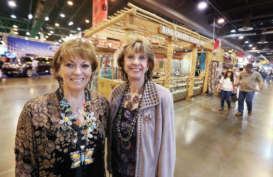 Bing Crosby Indian Art general manager Carol Yeager Berger, left, and owner Vickie Crosby share a moment together at their last Houston rodeo. Photo: Steve Gonzales, Houston Chronicle / © 2018 Houston Chronicle