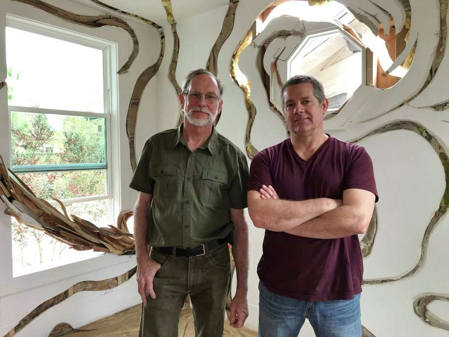 "Artists Dan Havel, left, and Dean Ruck have created ""Ripple,"" their latest monumental sculpture installation. Photo: Molly Glentzer"