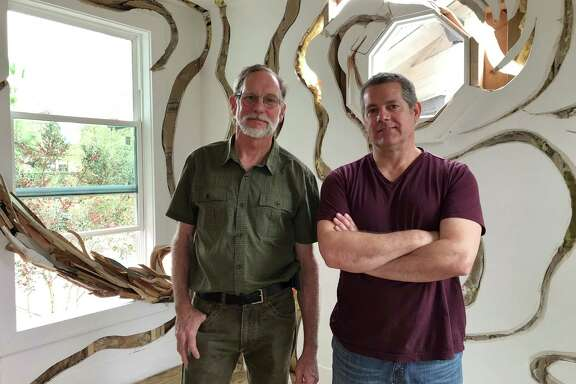 "Artists Dan Havel, left, and Dean Ruck have created ""Ripple,"" their latest monumental sculpture installation."