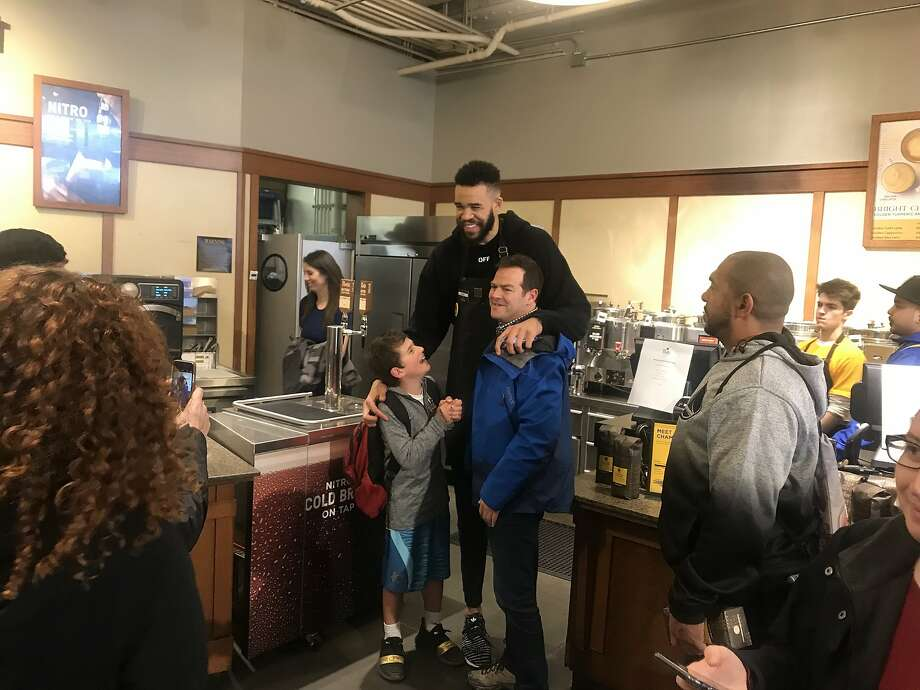 Javale Mcgee posing for photos at Peet's Coffee in the Ferry Building. Photo: Justin Phillips
