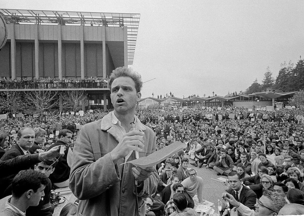 THE FREE SPEECH MOVEMENT: Mario Savio addresses thousands of assembled students at University of California in the Free Speech Movement on Dec. 7, 1964. The protest that only lasted for three months but set the stage for the turbulent 1960s.