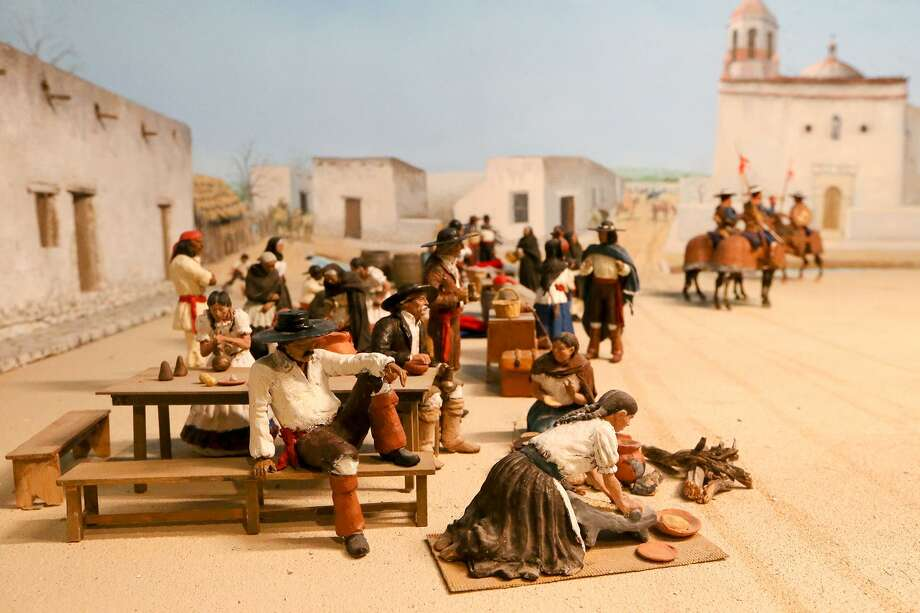 """Plaza de las Islas, Main Plaza 1780,"" a diorama built by George Nelson, shows a trade day on Main Plaza. Photo: Marvin Pfeiffer /San Antonio Express-News / Express-News 2018"
