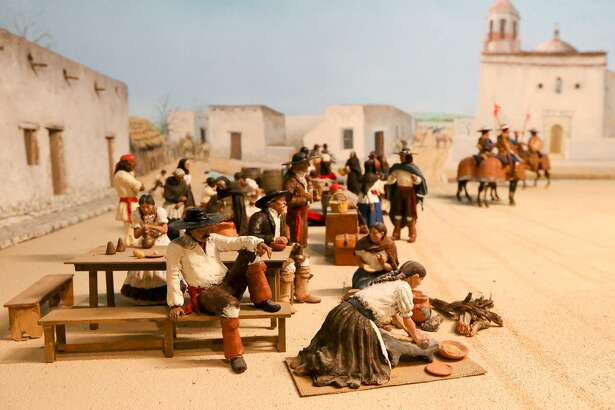 """Plaza de las Islas, Main Plaza 1780,"" a diorama built by George Nelson, shows a trade day on Main Plaza."