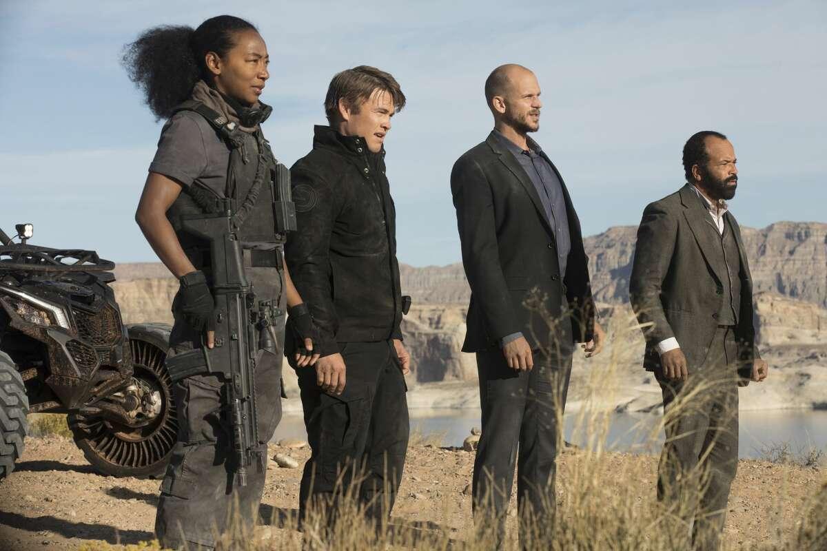 "Betty Gabriel, Luke Hemsworth, Gustaf Skarsgard, and Jeffrey Wright in the season premiere of the second season of HBO's ""Westworld."""