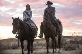 "Evan Rachel Wood and James Marsden in episode two of the second season of HBO's ""Westworld."""