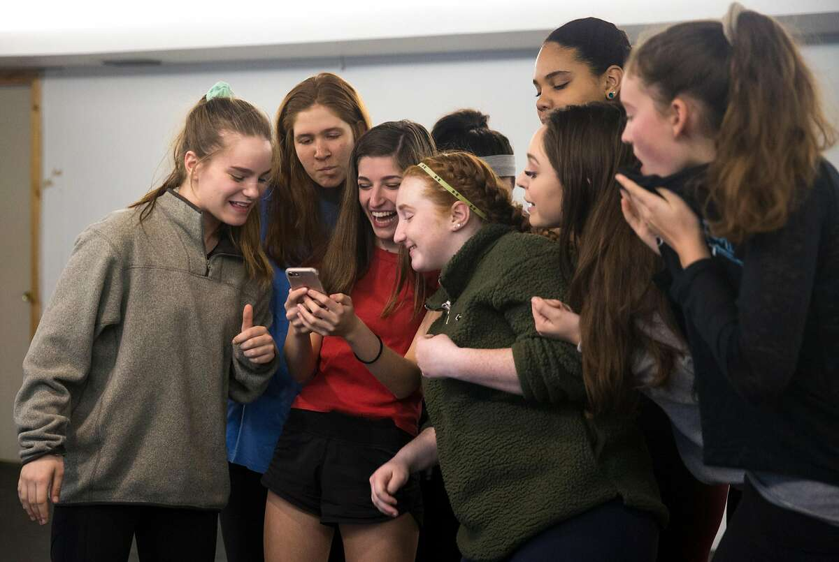 A group of local high school girls performing as understudies work on a scene during a rehearsal for the play, The Wolves, at Marin Theater Company Friday, March 9, 2018 in Mill Valley, Calif.