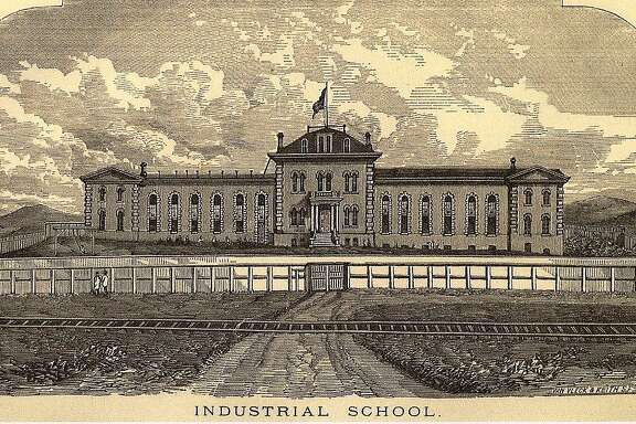 The San Francisco Industrial School in an undated drawing. The San Francisco-San Jose Railroad, which shipped produce picked by children at the reform school, runs in front of the building.