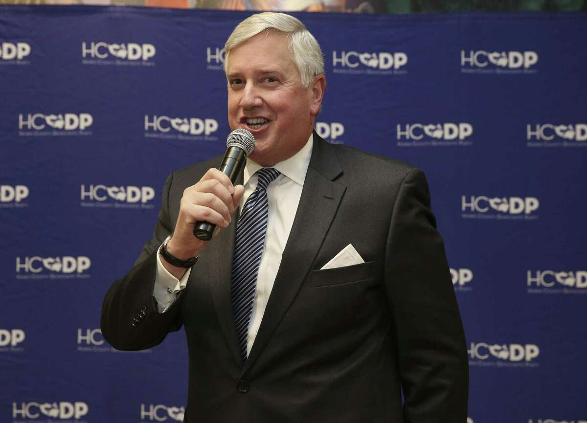 Mike Collier, Democrat Party lieutenant governor candidate for 2018 gubernatorial race, introduces himself to the crowd at a Democratic forum at Deluxe Theatre on Wednesday, Jan. 24, 2018, in Houston. ( Yi-Chin Lee / Houston Chronicle )