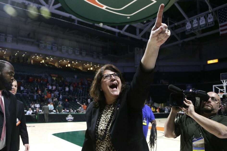 Quinnipiac coach Tricia Fabbri reacts after the Bobcats defeated Miami in a second-round game in the 2017 NCAA Tournament.
