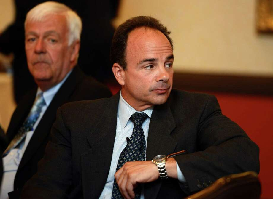 Mayoral candidate and former Mayor Joe Ganim and candidate Charlie Coviello at a 2015 ceremony at the Bridgeport Holiday Inn to mark the signing of the 1965 Voting Rights Act. Photo: Autumn Driscoll / Hearst Connecticut Media / Connecticut Post